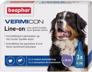 """Beaphar IMMO SHIELD LINE-ON DOG """"L""""  ar demetikonu pret parazītiem lieliem suņiem 3gb x 4.5ml"""