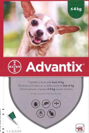 Advantix 200 mg/40 mg šķīdums (pipetes) pilināšanai uz ādas suņiem līdz 4 kg N1