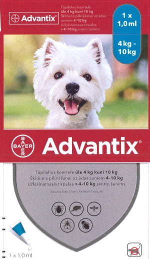 Advantix 500 mg/100 mg šķīdums (pipetes) pilināšanai uz ādas suņiem 4-10 kg N4