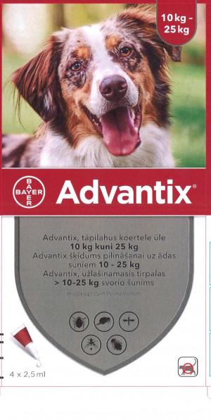Advantix 1250 mg/250 mg šķīdums (pipetes) pilināšanai uz ādas suņiem 10-25 kg N4