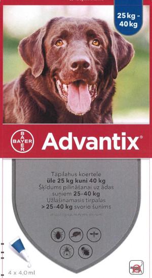 Advantix 2000 mg/400 mg šķīdums (pipetes) pilināšanai uz ādas suņiem 25-40 kg N4