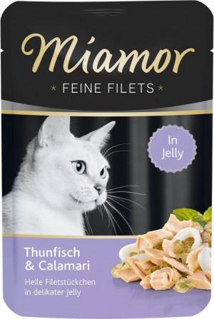 Miamor Feine Fillets 24 x 100g Filejas gabaliņi želejā ar tunci un kalmāriem