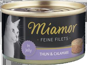 Miamor Feine Fillets 12 x 185g Filejas gabaliņi želejā ar tunci un kalmāriem