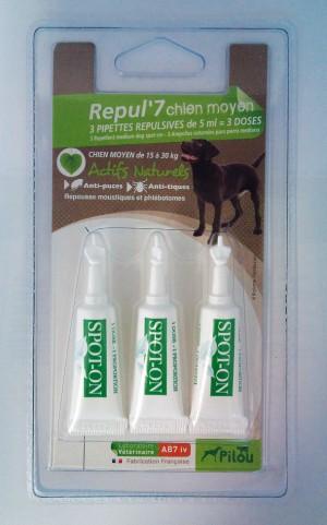 PILOU chien moyen 3 Pretparzītu līdzekļa pipetes vidējiem suņiem N3
