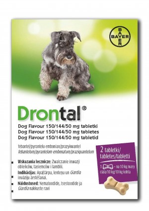 Drontal Dog Flavour 150/144/50 mg tabletes suņu attārpošanai 2tbl N2