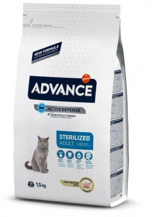ADVANCE CAT ADULT STERILIZED TURKEY   sausā barība kaķiem  400g