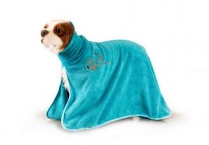 Show Tech+ Dry Dude Intermediate Turquoise Pet Towel For Dogs And Cats - Mikrošķiedru dvielis ar izšuvumiem ar kapuci ,tirkīza krāsā