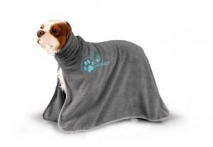 Show Tech+ Dry Dude Grey Pet Towel For Dogs And Cats , M - Mikrošķiedru dvielis ar izšuvumiem ar kapuci ,pelēks
