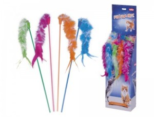 Nobby rotaļlieta kaķiem, kociņš ar spalvām un zvaniņu