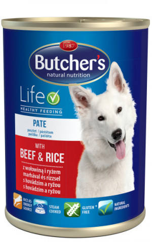 Butcher's WCD Rice Recipe with Beef&Rice Pate Dog 390g