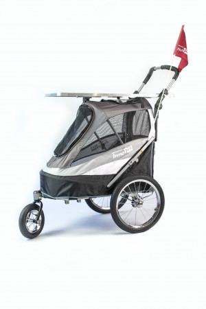 Innopet Sporty Dog Trailer Black/Silvergrey MELNI Ratiņi + Grūminga galds